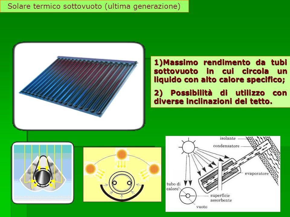 Solare termico sottovuoto (ultima generazione) 1)Massimo rendimento da tubi sottovuoto in cui circola un liquido con alto calore specifico; 2) Possibi
