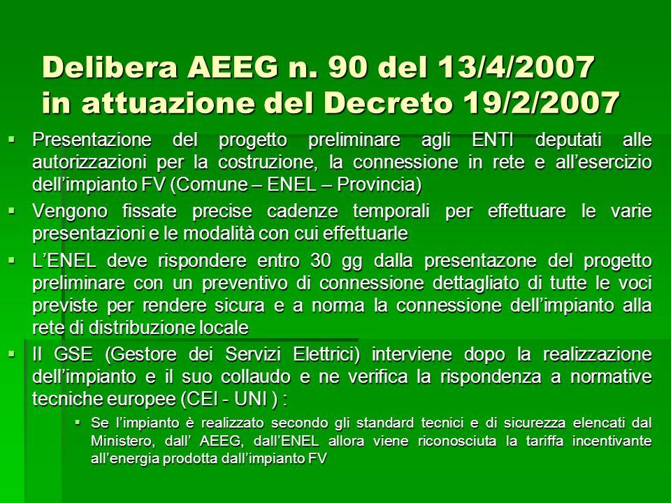 Delibera AEEG n. 90 del 13/4/2007 in attuazione del Decreto 19/2/2007 Presentazione del progetto preliminare agli ENTI deputati alle autorizzazioni pe