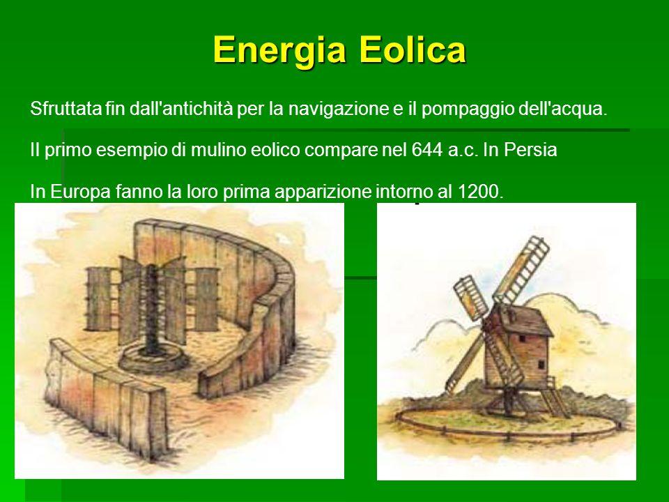 Energia Eolica Sfruttata fin dall'antichità per la navigazione e il pompaggio dell'acqua. Il primo esempio di mulino eolico compare nel 644 a.c. In Pe