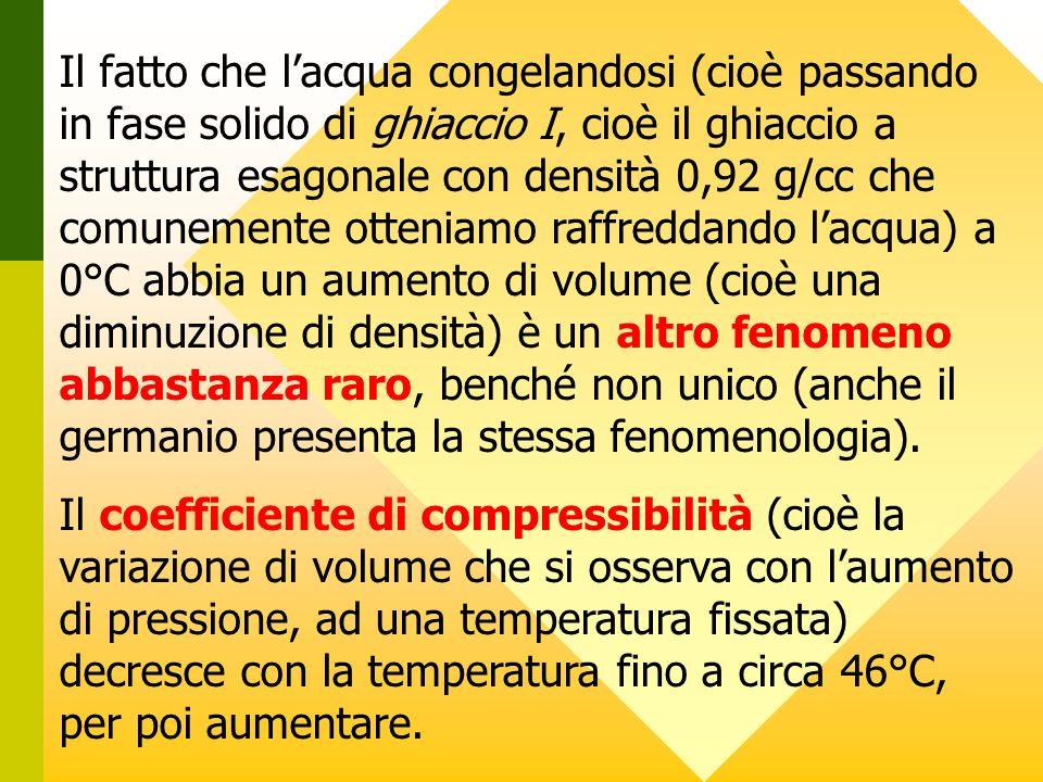 Il fatto che lacqua congelandosi (cioè passando in fase solido di ghiaccio I, cioè il ghiaccio a struttura esagonale con densità 0,92 g/cc che comunem