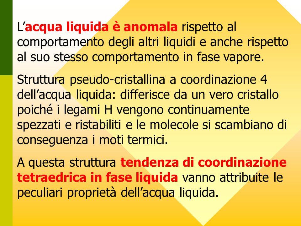 Lacqua liquida è anomala rispetto al comportamento degli altri liquidi e anche rispetto al suo stesso comportamento in fase vapore. Struttura pseudo-c
