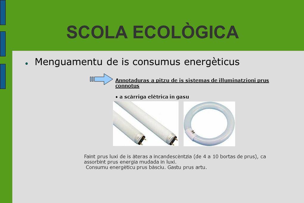 SCOLA ECOLÒGICA Menguamentu de is consumus energèticus Annotaduras a pitzu de is sistemas de illuminatzioni prus connotus a scàrriga elètrica in gasu