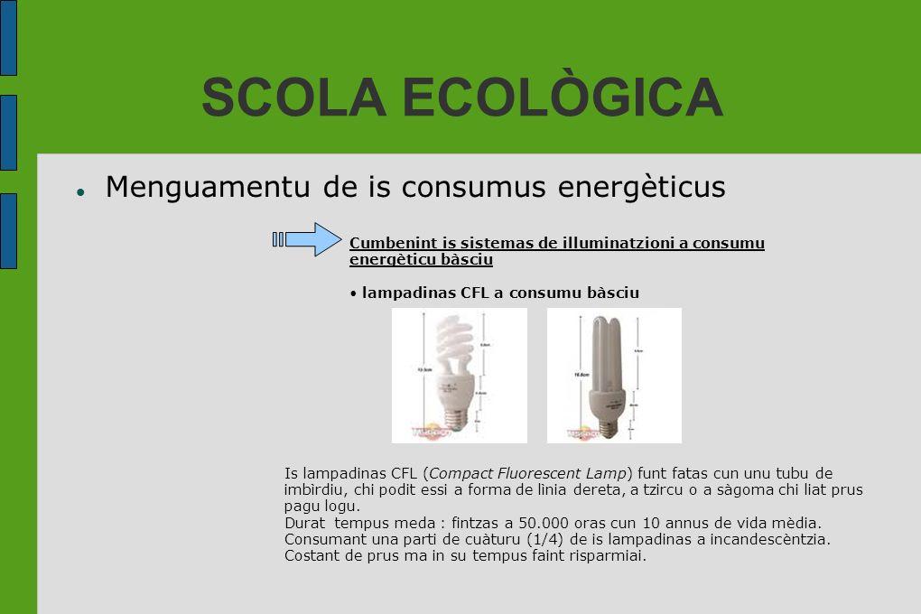 SCOLA ECOLÒGICA Menguamentu de is consumus energèticus Cumbenint is sistemas de illuminatzioni a consumu energèticu bàsciu lampadinas CFL a consumu bà