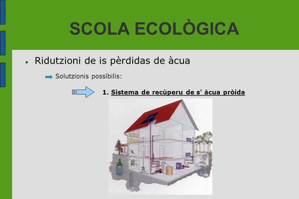 SCOLA ECOLÒGICA Ridutzioni de is pèrdidas de àcua Solutzionis possìbilis: 1. Sistema de recùperu de s àcua pròida