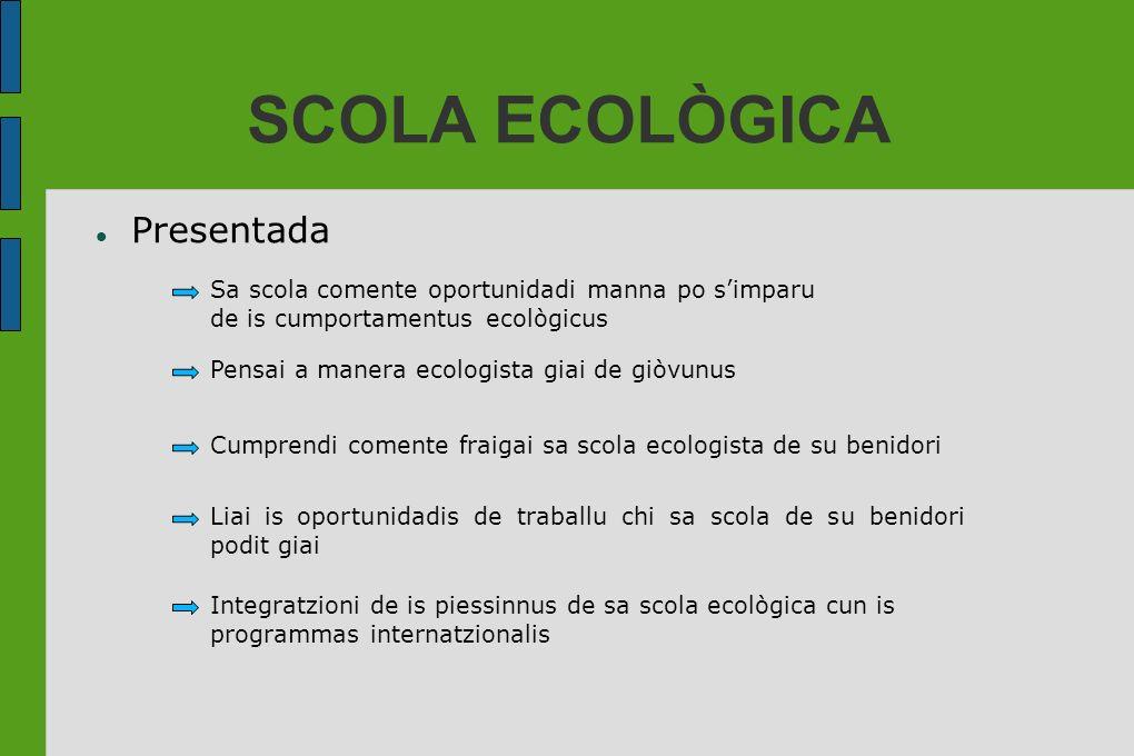 SCOLA ECOLÒGICA Presentada Sa scola comente oportunidadi manna po simparu de is cumportamentus ecològicus Pensai a manera ecologista giai de giòvunus