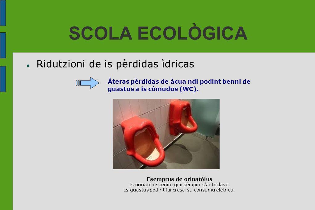 SCOLA ECOLÒGICA Ridutzioni de is pèrdidas ìdricas Àteras pèrdidas de àcua ndi podint benni de guastus a is còmudus (WC). Esemprus de orinatòius Is ori