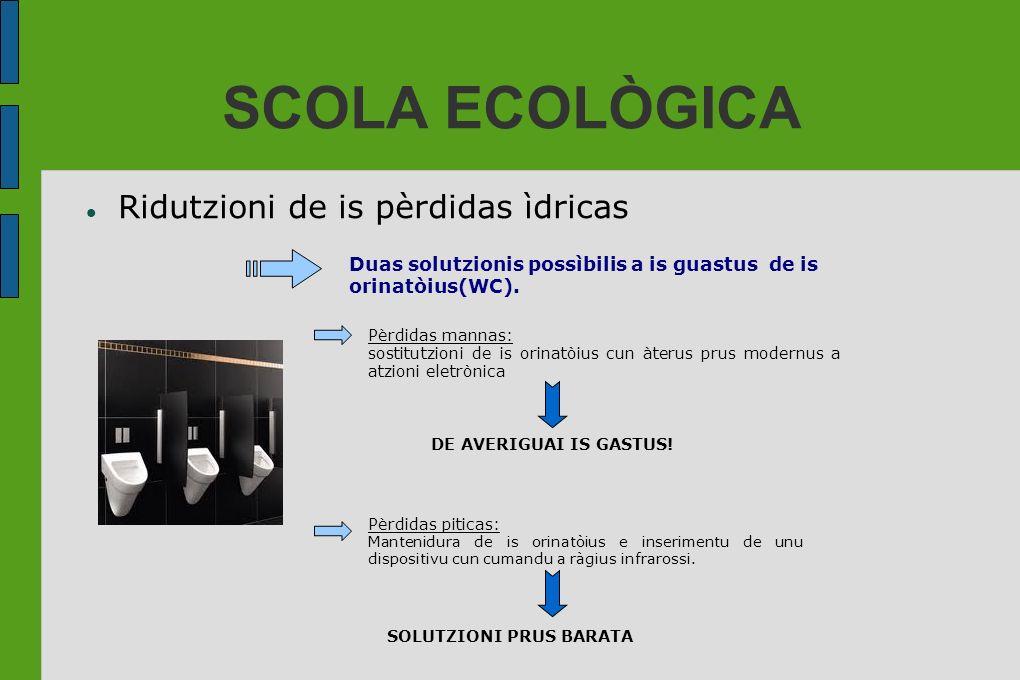 SCOLA ECOLÒGICA Ridutzioni de is pèrdidas ìdricas Duas solutzionis possìbilis a is guastus de is orinatòius(WC). Pèrdidas mannas: sostitutzioni de is