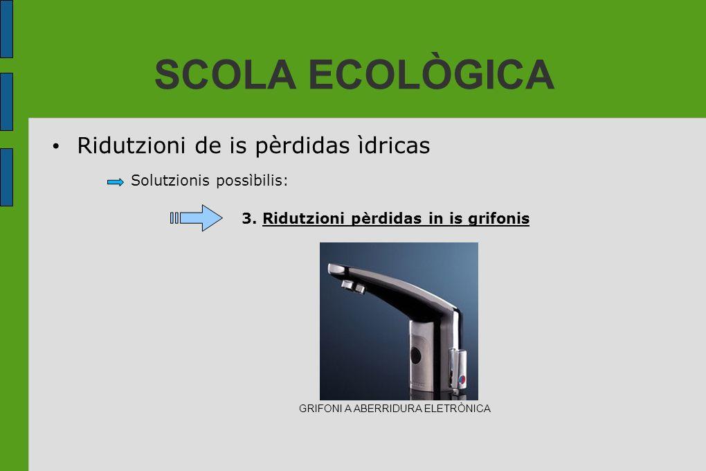 SCOLA ECOLÒGICA Solutzionis possìbilis: 3. Ridutzioni pèrdidas in is grifonis Ridutzioni de is pèrdidas ìdricas GRIFONI A ABERRIDURA ELETRÒNICA