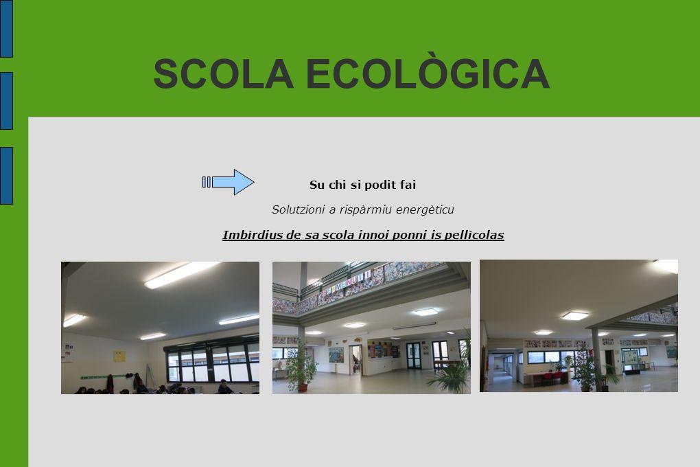 SCOLA ECOLÒGICA Su chi si podit fai Solutzioni a rispàrmiu energèticu Imbìrdius de sa scola innoi ponni is pellìcolas