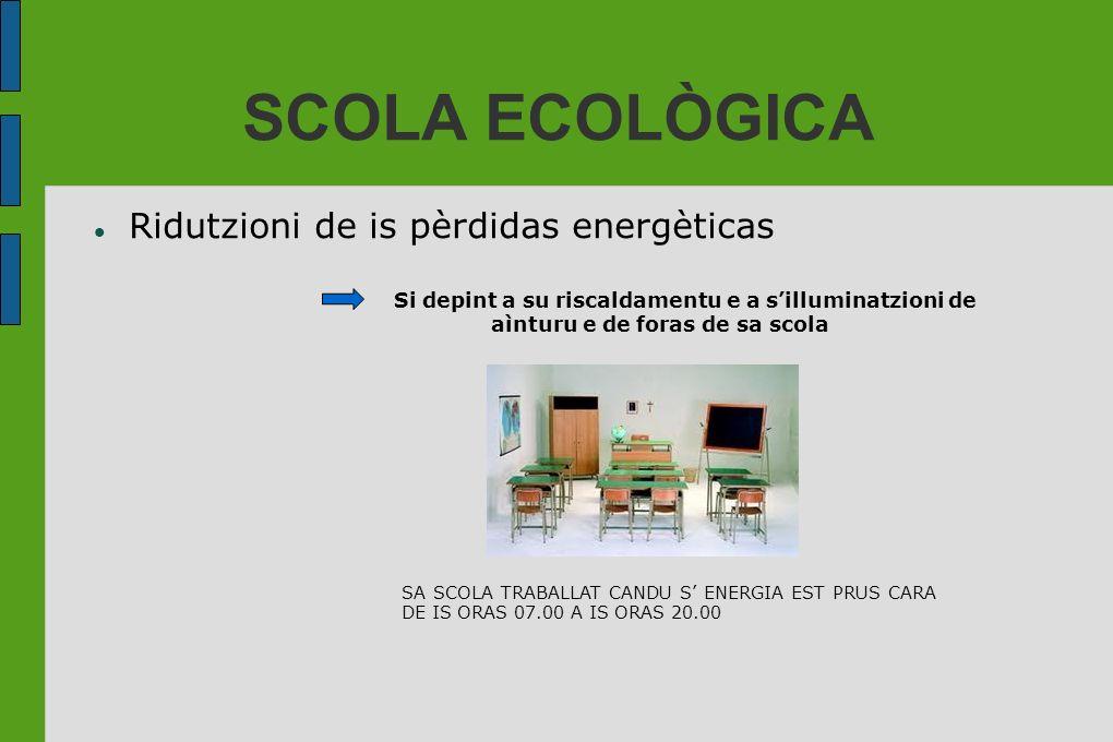 SCOLA ECOLÒGICA Ridutzioni de is pèrdidas energèticas Si depint a su riscaldamentu e a silluminatzioni de aìnturu e de foras de sa scola SA SCOLA TRAB