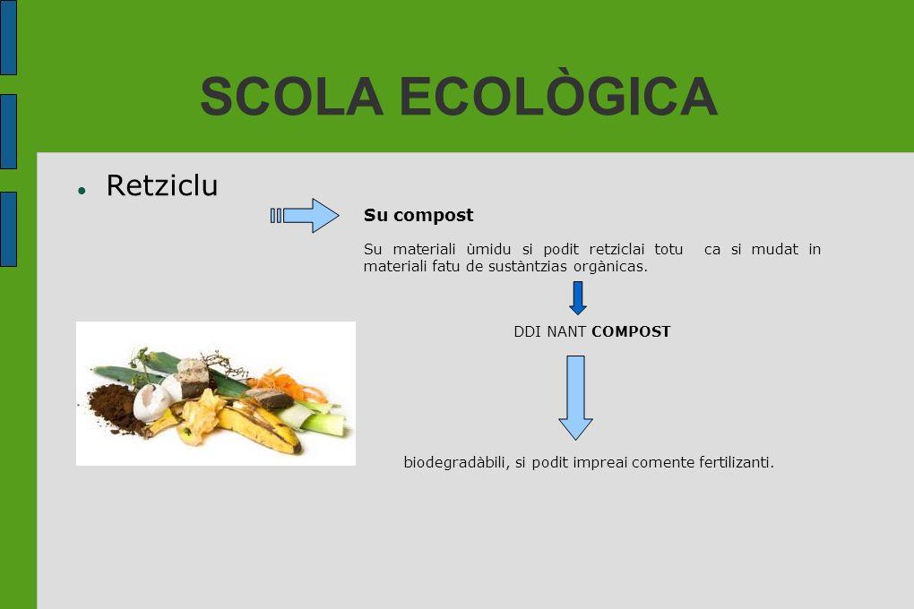 SCOLA ECOLÒGICA Retziclu Su compost Su materiali ùmidu si podit retziclai totu ca si mudat in materiali fatu de sustàntzias orgànicas. DDI NANT COMPOS