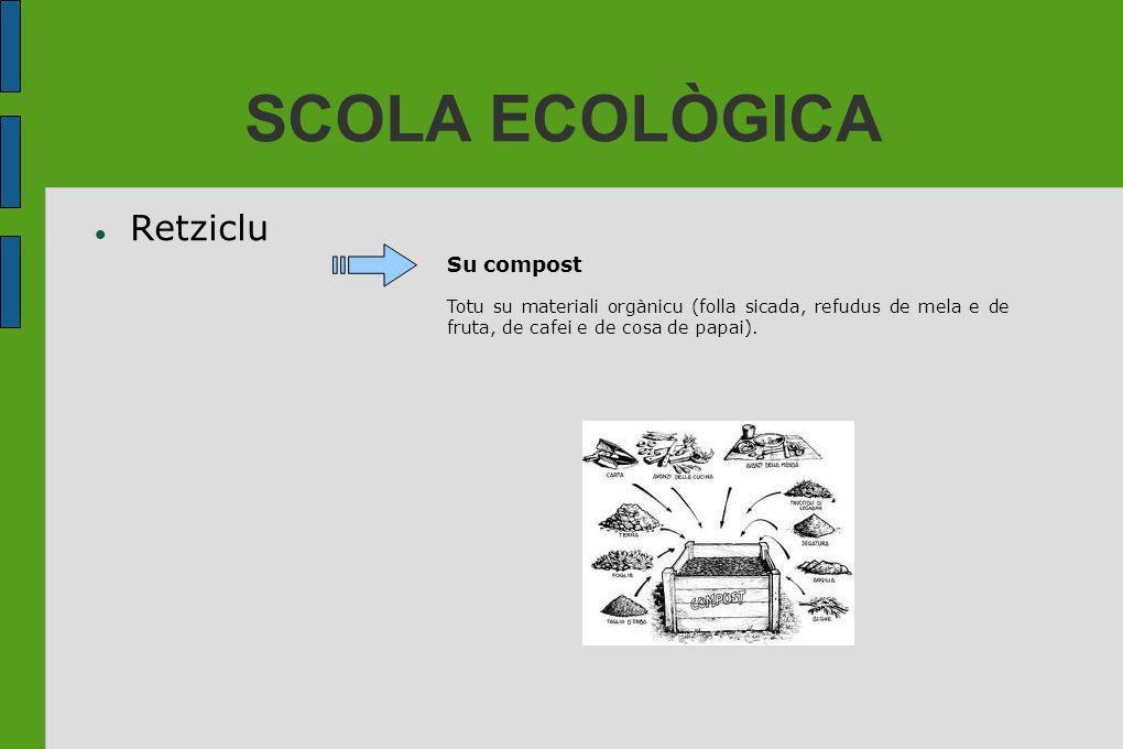 SCOLA ECOLÒGICA Retziclu Su compost Totu su materiali orgànicu (folla sicada, refudus de mela e de fruta, de cafei e de cosa de papai).