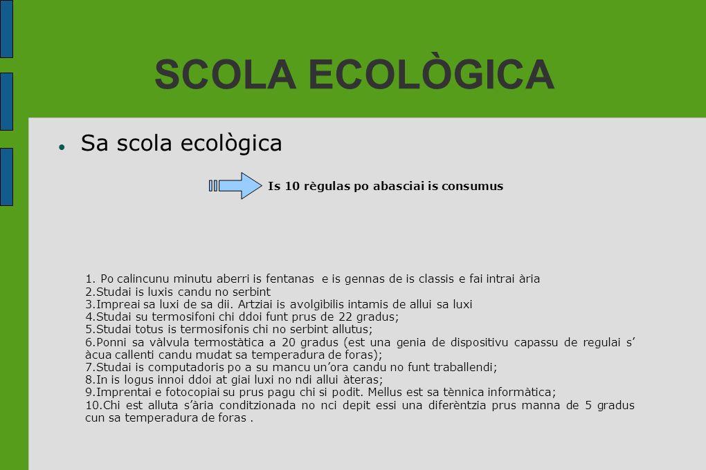 SCOLA ECOLÒGICA Sa scola ecològica Is 10 règulas po abasciai is consumus 1. Po calincunu minutu aberri is fentanas e is gennas de is classis e fai int