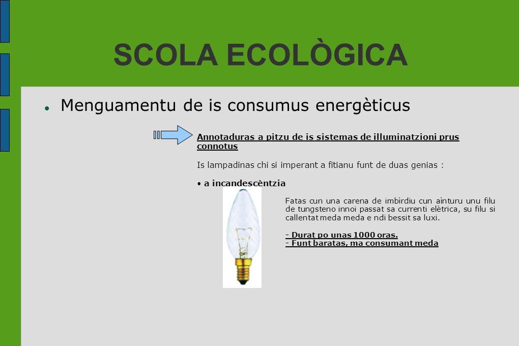 SCOLA ECOLÒGICA Menguamentu de is consumus energèticus Annotaduras a pitzu de is sistemas de illuminatzioni prus connotus Is lampadinas chi si imperan