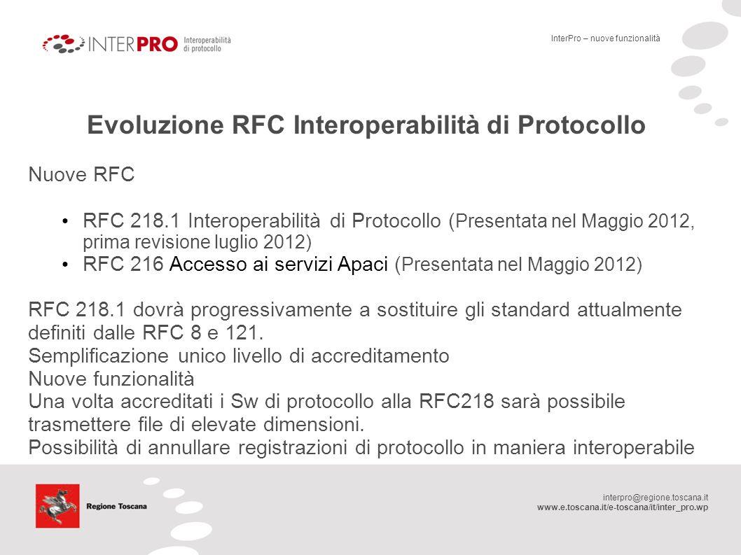 interpro@regione.toscana.it www.e.toscana.it/e-toscana/it/inter_pro.wp Evoluzione RFC Interoperabilità di Protocollo Nuove RFC RFC 218.1 Interoperabil