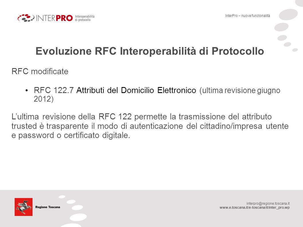 interpro@regione.toscana.it www.e.toscana.it/e-toscana/it/inter_pro.wp Evoluzione RFC Interoperabilità di Protocollo RFC modificate RFC 122.7 Attribut