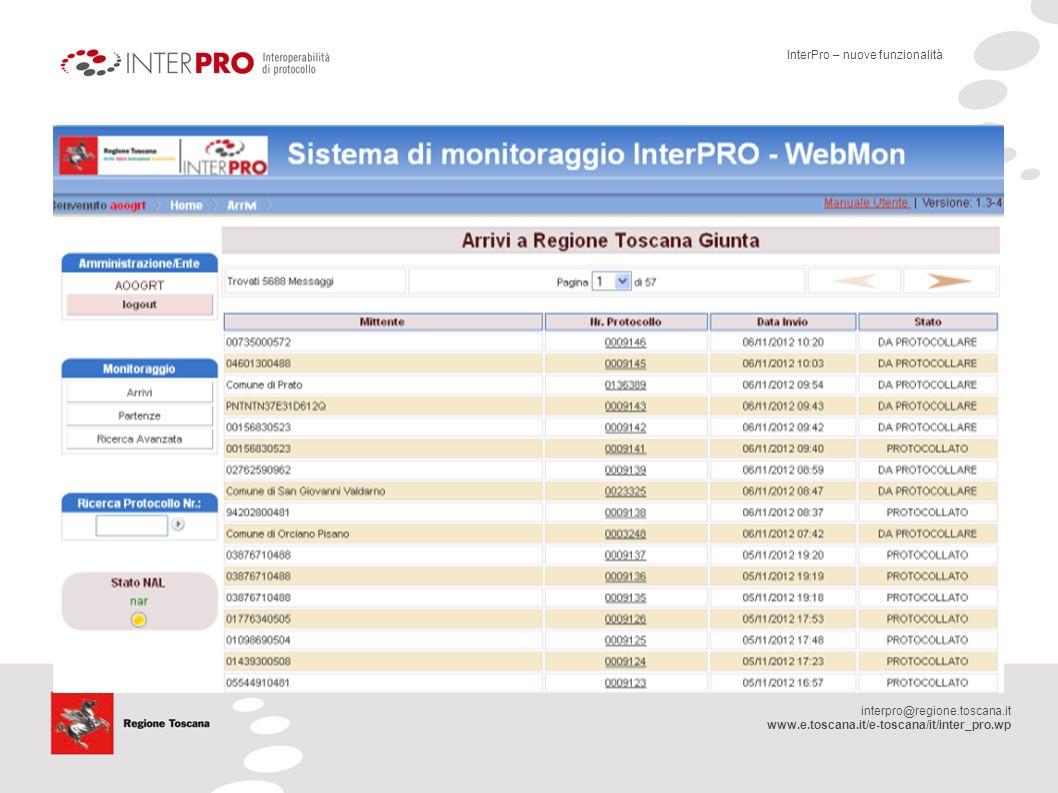 interpro@regione.toscana.it www.e.toscana.it/e-toscana/it/inter_pro.wp InterPro – nuove funzionalità