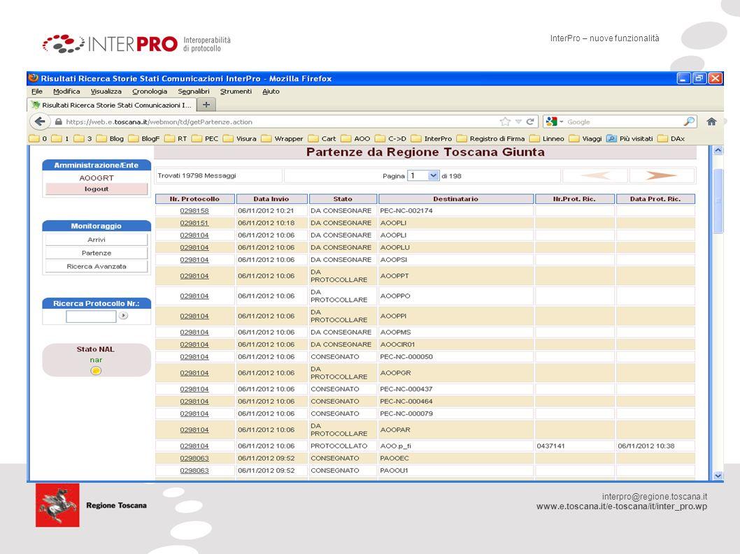 interpro@regione.toscana.it www.e.toscana.it/e-toscana/it/inter_pro.wp Evoluzione RFC Interoperabilità di Protocollo Nuove RFC RFC 218.1 Interoperabilità di Protocollo ( Presentata nel Maggio 2012, prima revisione luglio 2012) RFC 216 Accesso ai servizi Apaci ( Presentata nel Maggio 2012) RFC 218.1 dovrà progressivamente a sostituire gli standard attualmente definiti dalle RFC 8 e 121.