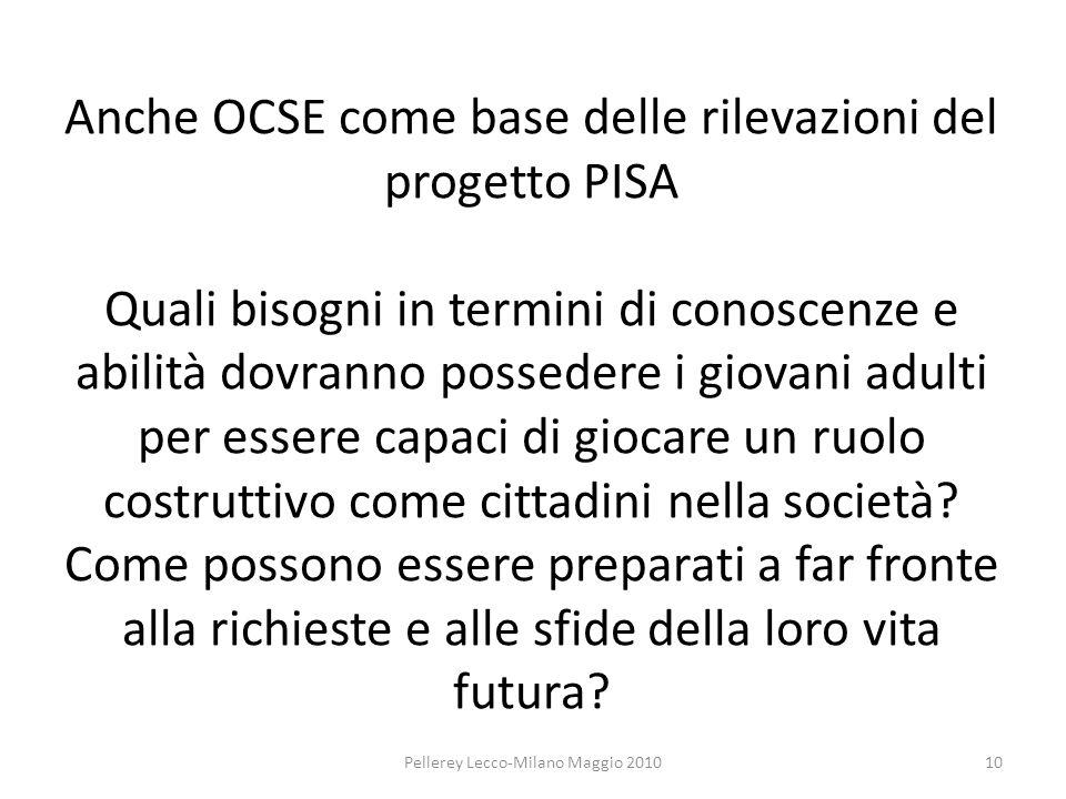 Anche OCSE come base delle rilevazioni del progetto PISA Quali bisogni in termini di conoscenze e abilità dovranno possedere i giovani adulti per essere capaci di giocare un ruolo costruttivo come cittadini nella società.