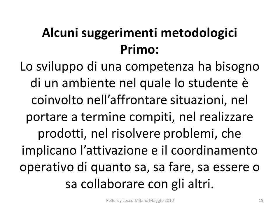 Alcuni suggerimenti metodologici Primo: Lo sviluppo di una competenza ha bisogno di un ambiente nel quale lo studente è coinvolto nellaffrontare situa