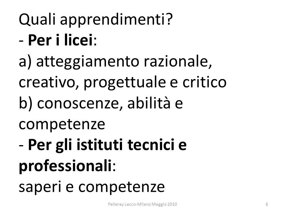 Quali apprendimenti? - Per i licei: a) atteggiamento razionale, creativo, progettuale e critico b) conoscenze, abilità e competenze - Per gli istituti