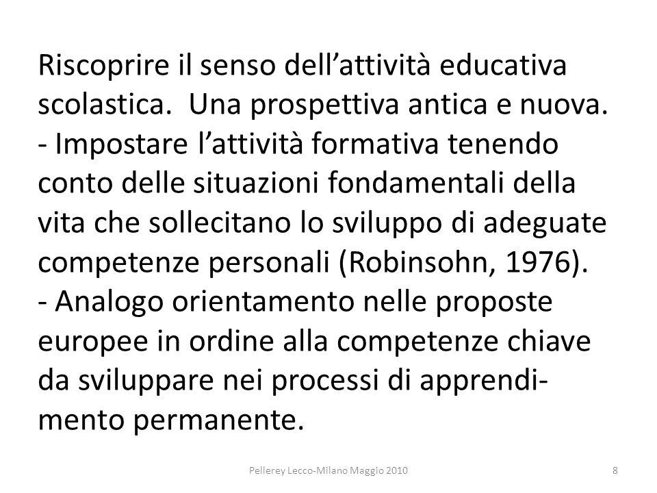 Riscoprire il senso dellattività educativa scolastica.