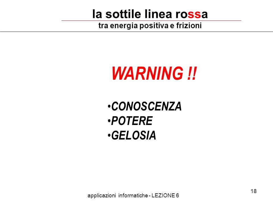 applicazioni informatiche - LEZIONE 6 18 la sottile linea rossa tra energia positiva e frizioni WARNING !! CONOSCENZA POTERE GELOSIA