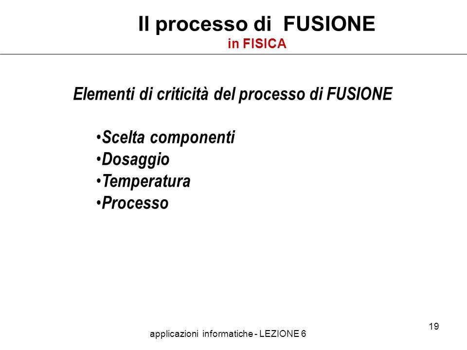 applicazioni informatiche - LEZIONE 6 19 Il processo di FUSIONE in FISICA Elementi di criticità del processo di FUSIONE Scelta componenti Dosaggio Temperatura Processo