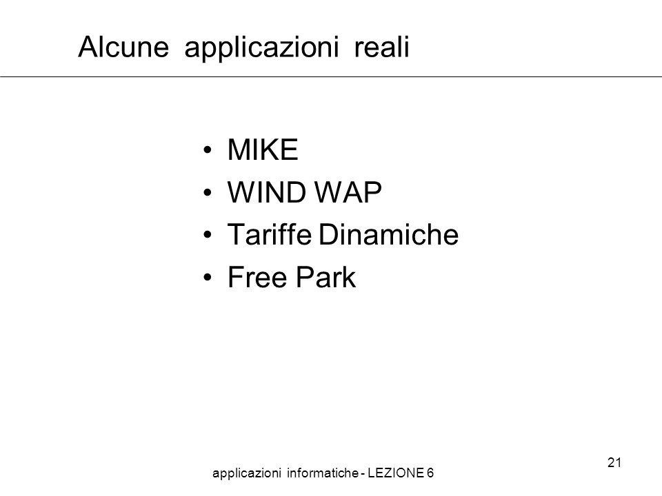 applicazioni informatiche - LEZIONE 6 21 Alcune applicazioni reali MIKE WIND WAP Tariffe Dinamiche Free Park