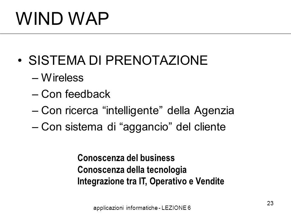 applicazioni informatiche - LEZIONE 6 23 WIND WAP SISTEMA DI PRENOTAZIONE –Wireless –Con feedback –Con ricerca intelligente della Agenzia –Con sistema