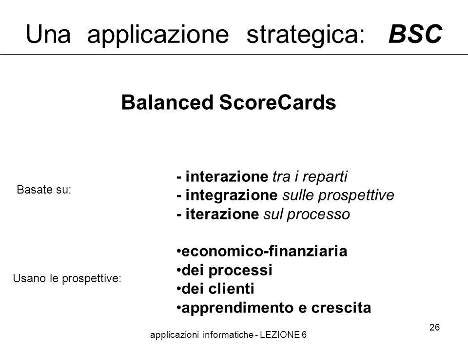 applicazioni informatiche - LEZIONE 6 26 Una applicazione strategica: BSC - interazione tra i reparti - integrazione sulle prospettive - iterazione sul processo economico-finanziaria dei processi dei clienti apprendimento e crescita Basate su: Usano le prospettive: Balanced ScoreCards