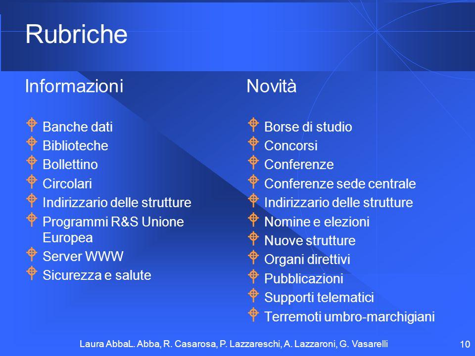Laura AbbaL. Abba, R. Casarosa, P. Lazzareschi, A. Lazzaroni, G. Vasarelli 10 Rubriche Informazioni Banche dati Biblioteche Bollettino Circolari Indir