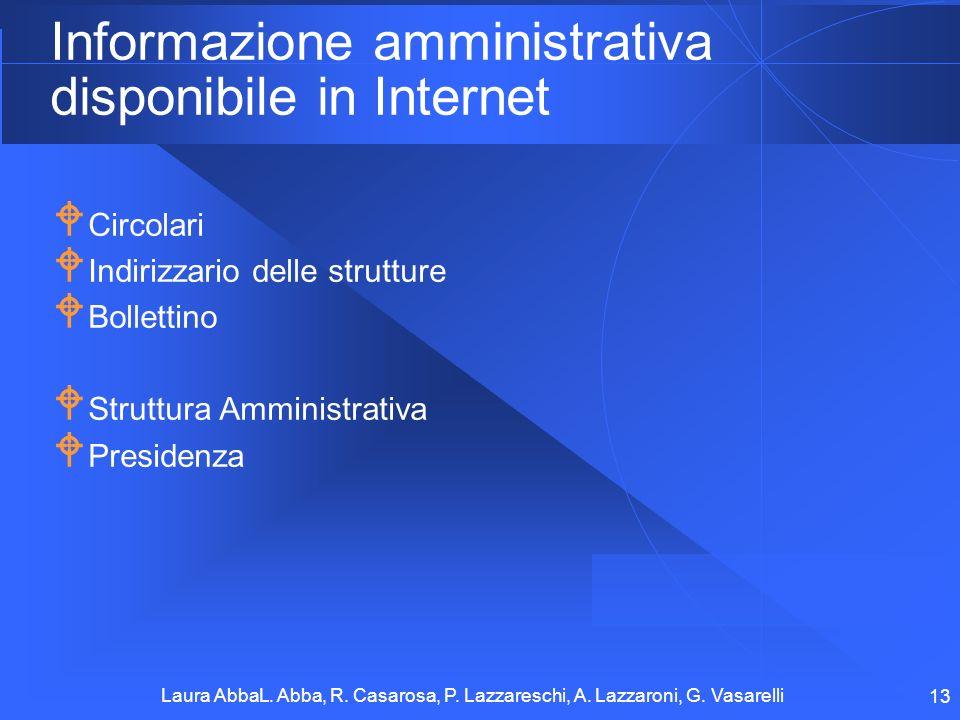 Laura AbbaL. Abba, R. Casarosa, P. Lazzareschi, A. Lazzaroni, G. Vasarelli 13 Informazione amministrativa disponibile in Internet Circolari Indirizzar