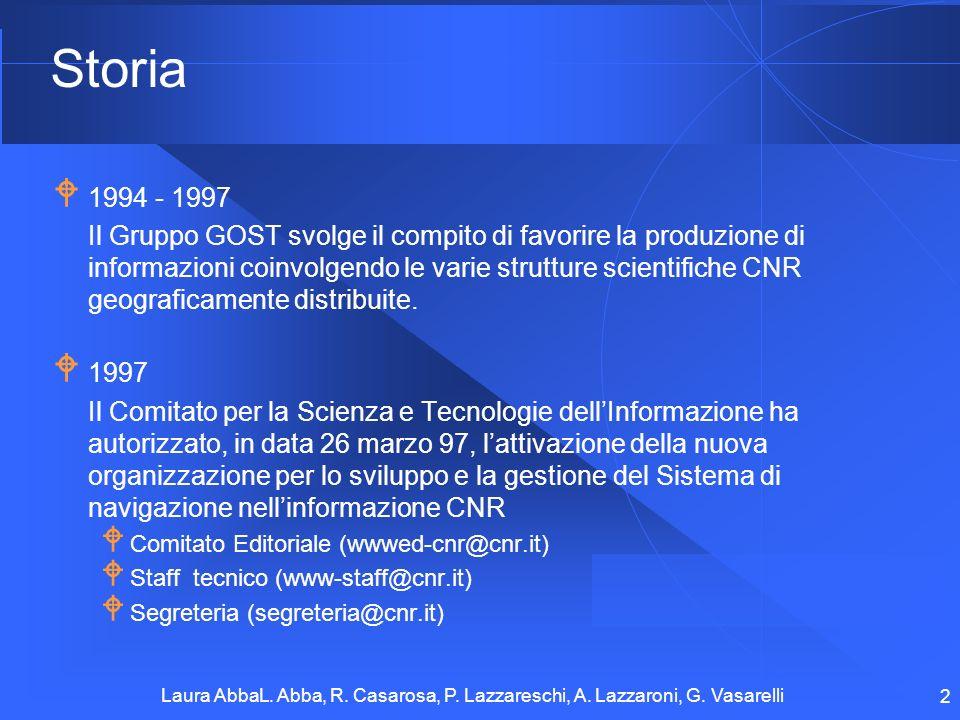 Laura AbbaL. Abba, R. Casarosa, P. Lazzareschi, A. Lazzaroni, G. Vasarelli 2 Storia 1994 - 1997 Il Gruppo GOST svolge il compito di favorire la produz