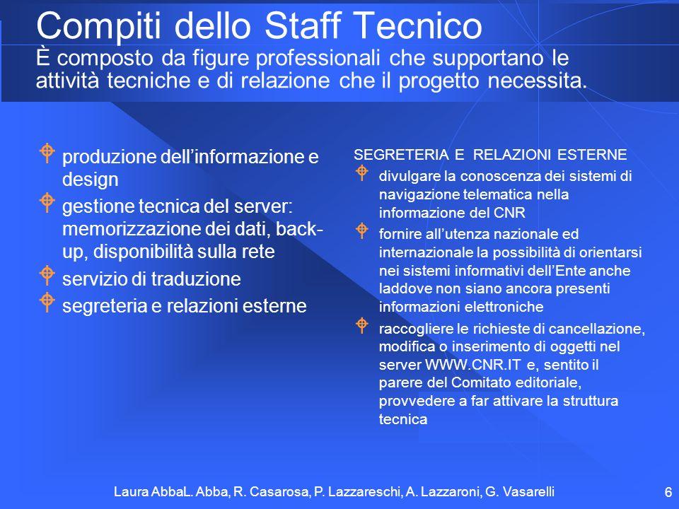 Laura AbbaL. Abba, R. Casarosa, P. Lazzareschi, A. Lazzaroni, G. Vasarelli 6 Compiti dello Staff Tecnico È composto da figure professionali che suppor