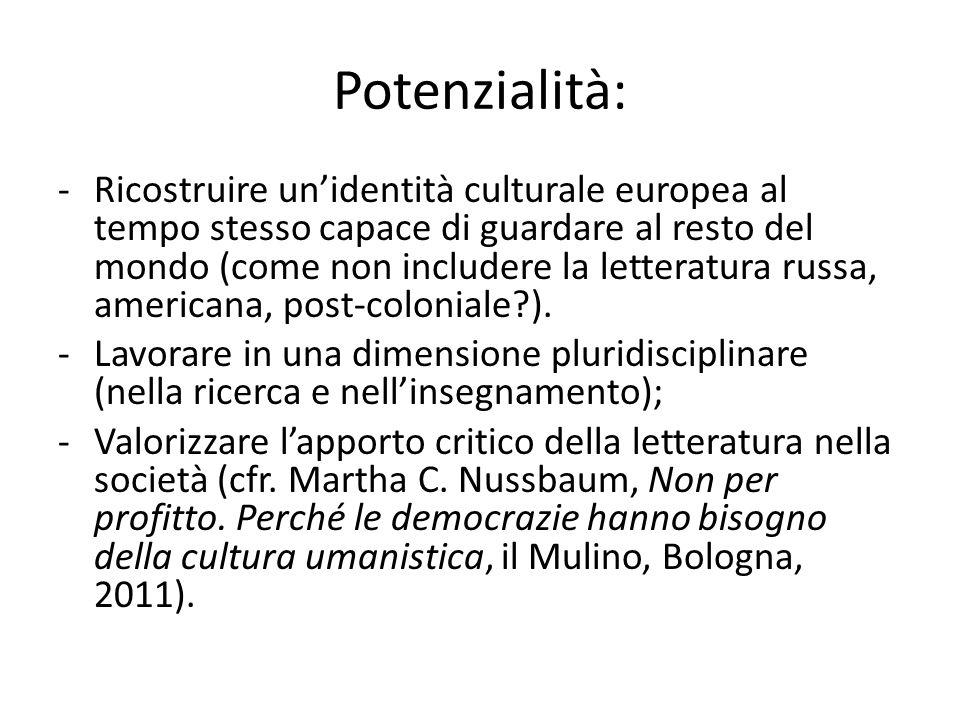 Potenzialità: -Ricostruire unidentità culturale europea al tempo stesso capace di guardare al resto del mondo (come non includere la letteratura russa