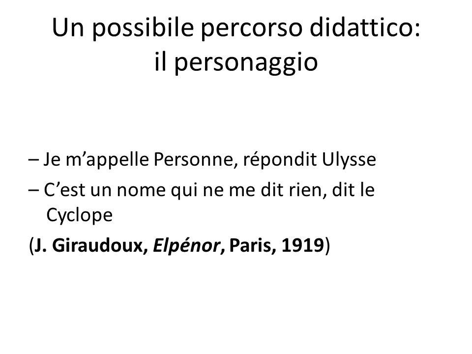 Un possibile percorso didattico: il personaggio – Je mappelle Personne, répondit Ulysse – Cest un nome qui ne me dit rien, dit le Cyclope (J. Giraudou