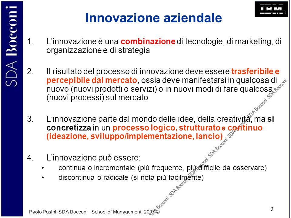 Paolo Pasini, SDA Bocconi - School of Management, 2007 © 4 Innovazione aziendale 5.Linnovazione ha due facce: da un lato i benefici che può generare (incerti), dallaltro i rischi che si corrono e i costi che si sostengono (certi) 6.Molte innovazioni di successo sono casuali e non pianificate (es.