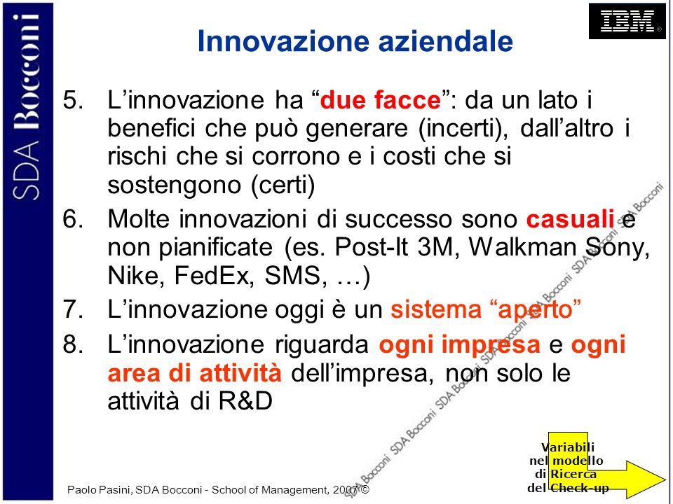 Paolo Pasini, SDA Bocconi - School of Management, 2007 © 4 Innovazione aziendale 5.Linnovazione ha due facce: da un lato i benefici che può generare (