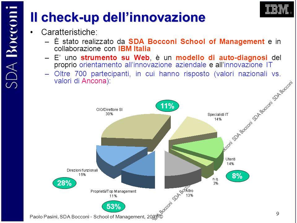 Paolo Pasini, SDA Bocconi - School of Management, 2007 © 9 Il check-up dellinnovazione Caratteristiche: –È stato realizzato da SDA Bocconi School of M