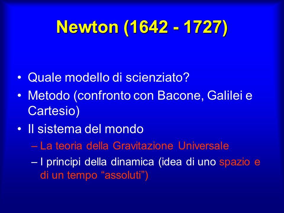 Newton vs Leibniz Se due corpi si muovono luno rispetto allaltro di moto rettilineo uniforme non si può distinguere il moto dalla quiete Se un corpo accelera sente leffetto di una forza F = ma quindi riesce a capire che si sta muovendo rispetto a qualcosa SPAZIO ASSOLUTO