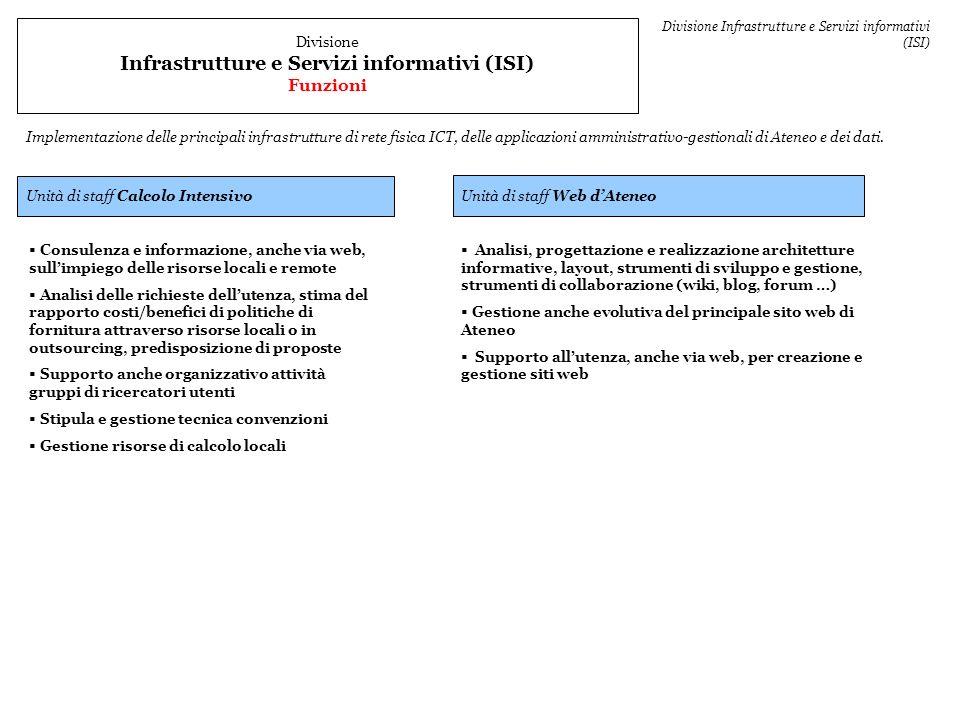 Unità di staff Web dAteneo Unità di staff Calcolo Intensivo Consulenza e informazione, anche via web, sullimpiego delle risorse locali e remote Analis
