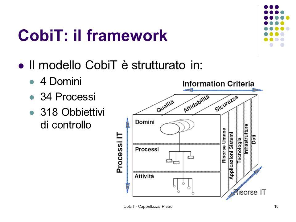 CobiT - Cappellazzo Pietro10 CobiT: il framework Il modello CobiT è strutturato in: 4 Domini 34 Processi 318 Obbiettivi di controllo