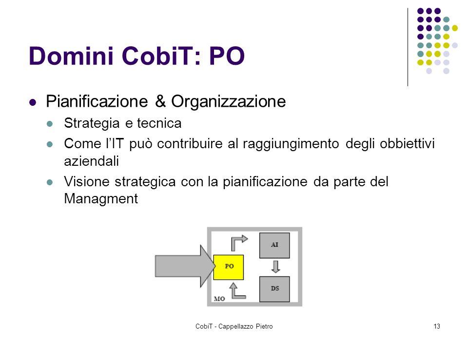 CobiT - Cappellazzo Pietro13 Domini CobiT: PO Pianificazione & Organizzazione Strategia e tecnica Come lIT può contribuire al raggiungimento degli obb