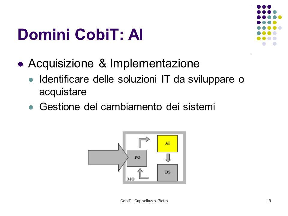 CobiT - Cappellazzo Pietro15 Domini CobiT: AI Acquisizione & Implementazione Identificare delle soluzioni IT da sviluppare o acquistare Gestione del c