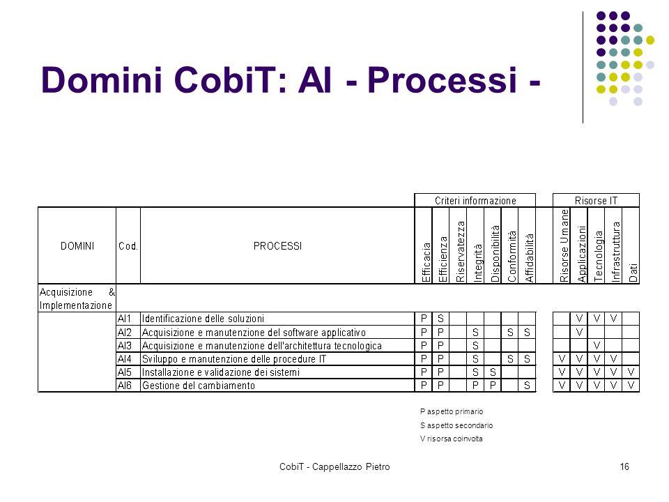 CobiT - Cappellazzo Pietro16 Domini CobiT: AI - Processi - P aspetto primario S aspetto secondario V risorsa coinvolta