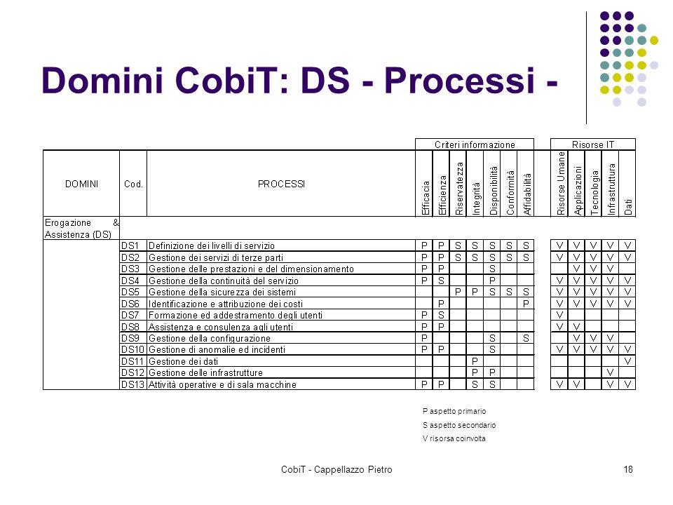 CobiT - Cappellazzo Pietro18 Domini CobiT: DS - Processi - P aspetto primario S aspetto secondario V risorsa coinvolta