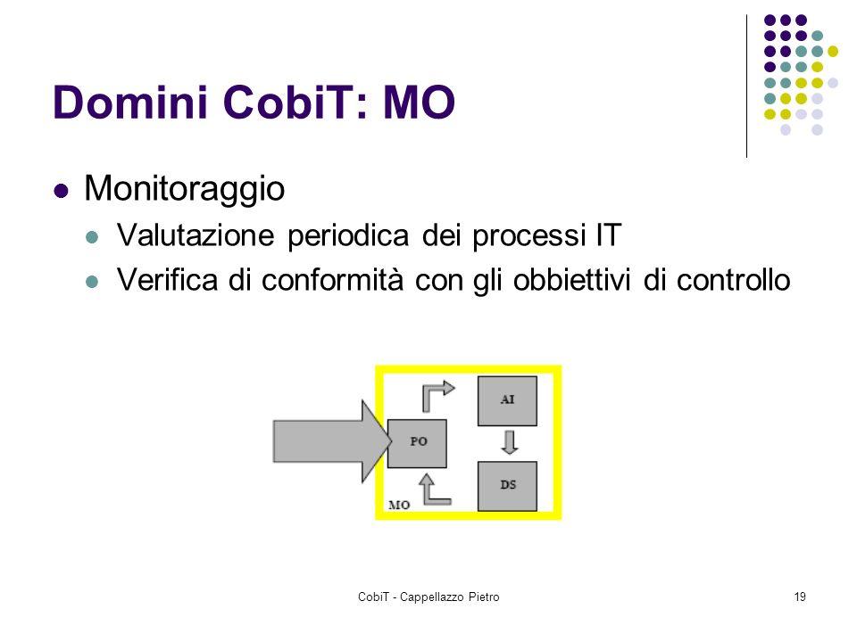 CobiT - Cappellazzo Pietro19 Domini CobiT: MO Monitoraggio Valutazione periodica dei processi IT Verifica di conformità con gli obbiettivi di controll
