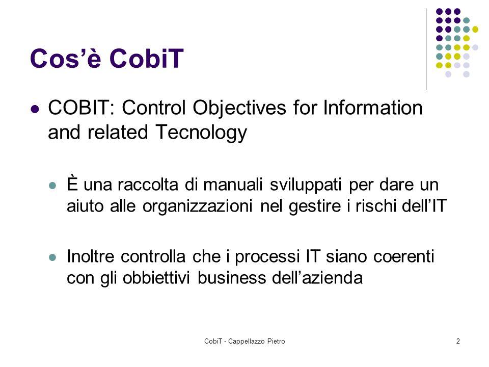 CobiT - Cappellazzo Pietro2 Cosè CobiT COBIT: Control Objectives for Information and related Tecnology È una raccolta di manuali sviluppati per dare u