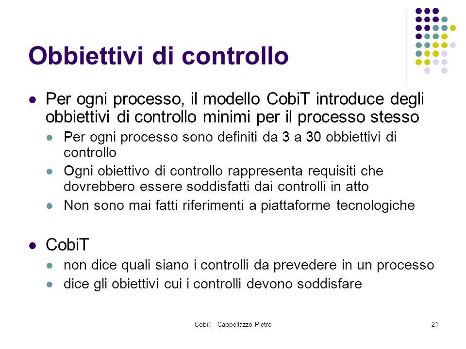 CobiT - Cappellazzo Pietro21 Obbiettivi di controllo Per ogni processo, il modello CobiT introduce degli obbiettivi di controllo minimi per il process
